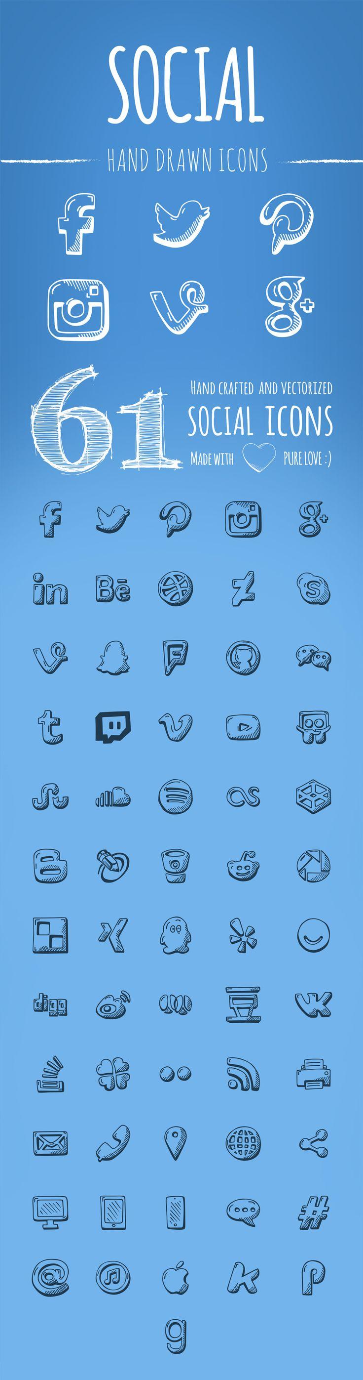 free-handdrawn-social-icons