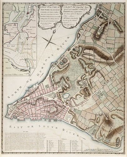 Antique Map of New York City, 1775.