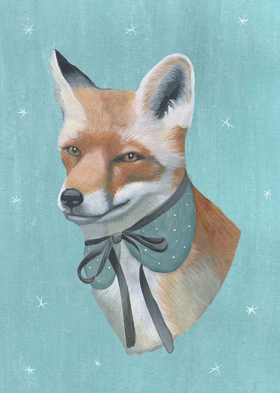 Art print Fox head with fancy collar by KinomiBoutique on Etsy, €15.11