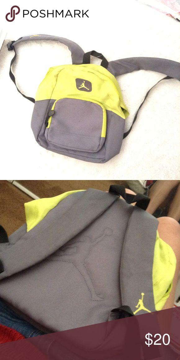 Mini JORDAN backpack w Tag Gray and Lime green. Jordan logo on strap as well as front. Jordan Bags Backpacks