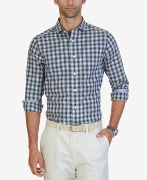 Nautica Men's Classic-Fit Estate Plaid Shirt - White S