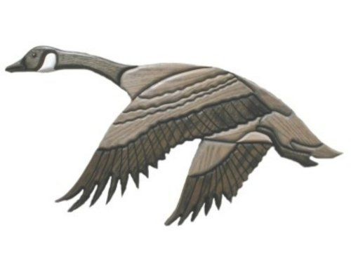 Wood Carved Flying Canada Goose' Wall Art, 29, Right,Figurines, by