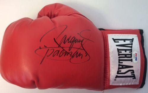 Manny Pacman Pacquiao Signed Red Everlast Boxing Glove HOF AB29693 - PSA/DNA Certified - Autographed Boxing Gloves @ niftywarehouse.com #NiftyWarehouse #PacMan #VideoGames #Pac-man #Arcade #Classic