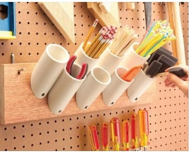 Store loose items with a PVC addition to a peg board. Simple garage hack DIY