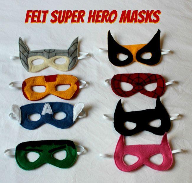 Felt Superhero Masks - with tutorial. Sew or no sew. #superhero #avengers