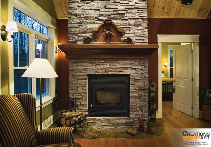 Fireplace covered with cultured stone grey profit for Fireplaces southwest