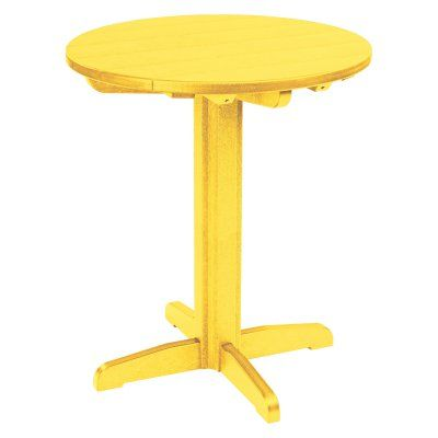 Outdoor CR Plastic Generations 40 in. Round Pub Height Table Yellow - TBT13-04, Durable