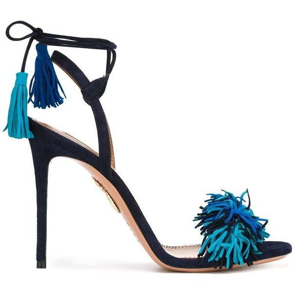 Aquazzura ankle strap stiletto sandals found on Polyvore featuring shoes, sandals, heels, blue, heels stilettos, blue stilettos, leather shoes, ankle tie sandals and ankle strap sandals