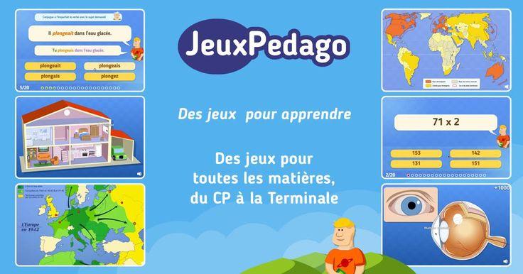 jeuxpedago.com : Jeux pour l'école, le collège et le lycée ainsi que pour les parents., Site de jeux pédagogiques pour ordinateurs et tablettes développé avec des enseignants. Français, math, anglais, histoire-géo, espagnol, italien...