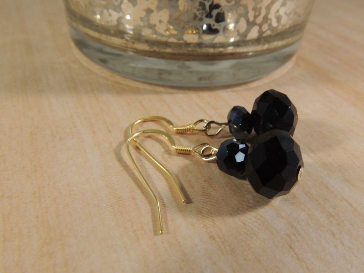 Vermeil and 14 carat gold round black faceted earrings