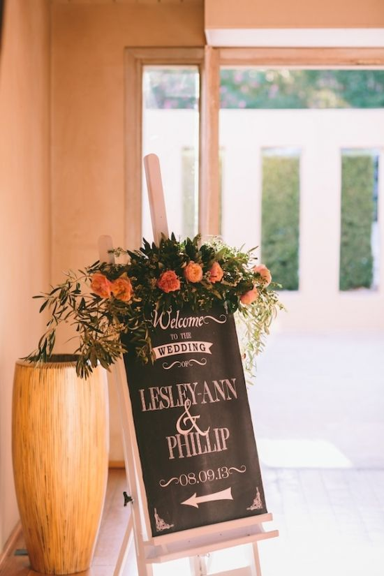 welcome wedding sign with flowers Easel, black butcher paper, white opaque marker, and poster frame for an easy chalk board