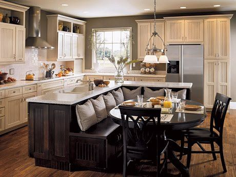 Kitchen Island/breakfast nook combo. A good idea to keep in my back pocket. I much prefer the bar stools with an over hang for an island, but then again, I'm always looking for ways to save space, just in case I don't get to build my dream home to spec.