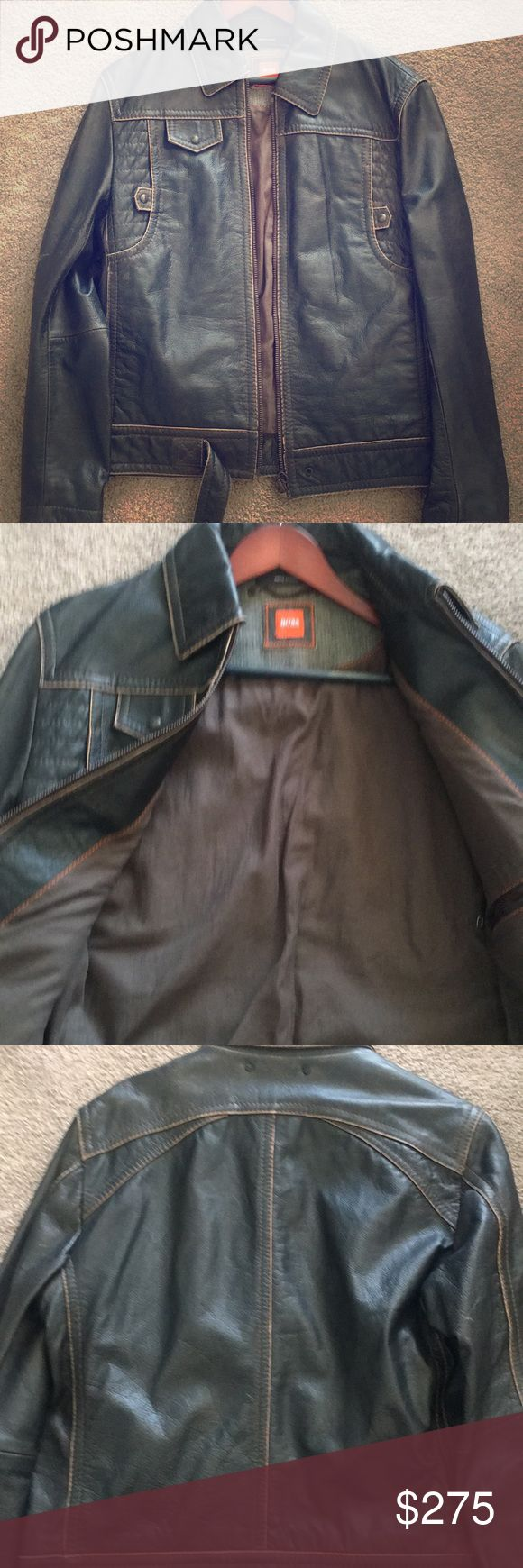 Hugo Boss Leather Jacket Hugo Boss Orange line Leather Jacket size 40R in excellent condition.. Hugo Boss Jackets & Coats