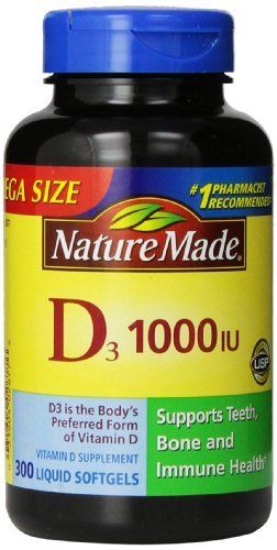 Nature Made Vitamin D3 1000 IU, Mega Size, 300-Count Liquid Softgels //Price: $11.99 & FREE Shipping //     #hashtag4
