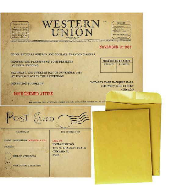 Telegram Telegraph Vintage Wedding Invitations...Awesome!