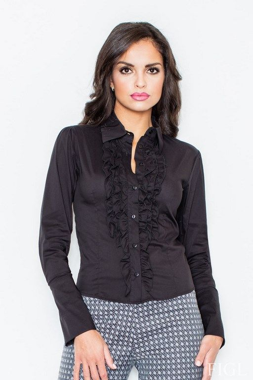 Black shirt for women with frills