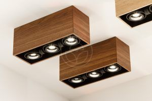 LED spot lights with dark wood box. Wooden ceiling mounted square luminaires made of oak, palisander, teak, cherry or walnut wood.