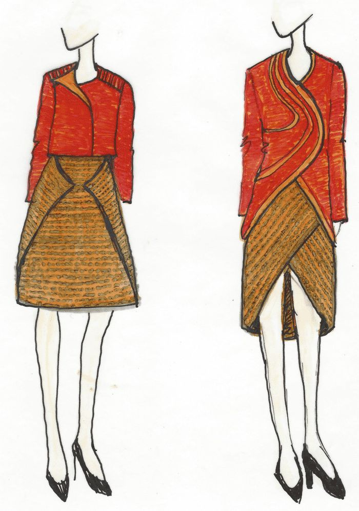 Sketches for design challenge for the BConnected Conference Outfit. Learn more about the challenges at www.duellingdesigns.com