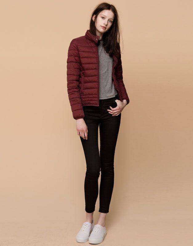 Pull&Bear - donna - giacche - giubbotto nylon imbottito - burgundy - 09712202-I2015