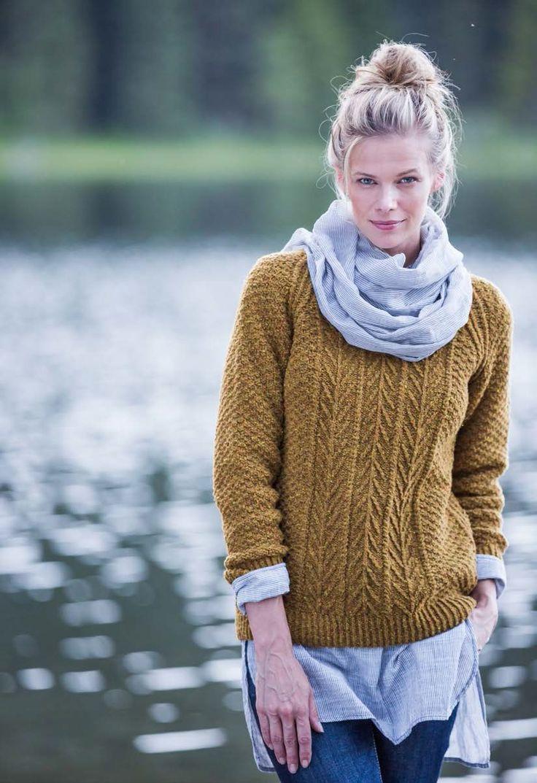 Пуловер реглан с косами и текстурой Cascades (Каскады) от Michele Wang из Бруклин твид осень 2015 (BT Fall 15).
