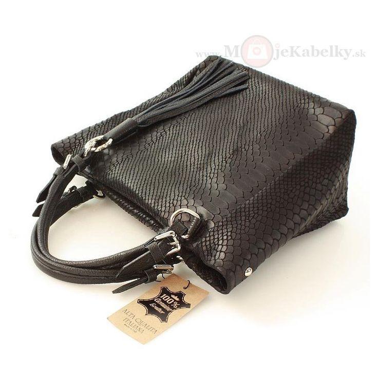Kožená kabelka Mazzini tmavohnedá koža - MK-VE-21768
