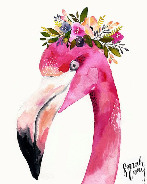 Flamingo with Floral Crown Print by DandelionPaperCo on Etsy