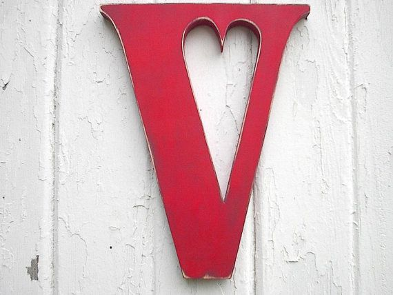 Decorative Wooden Letter V Red Shabby chic Wall by LettersofWood, $28.00