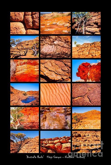 Kings Canyon, Australia. 'AUSTRALIA ROCKS' Montages. An intimate look at the incredibly fascinating rocks and their formations around Australia. This country has some of the oldest and diverse rock formations in the world.   Visit my photo gallery and get a beautiful Fine Art Print, Canvas Print, Metal or Acrylic Print. 30 days money back guarantee on every purchase so don't hesitate to bring some 'INTEREST and COLOUR' in your home or office!  Prints for sale by Lexa Harpell.