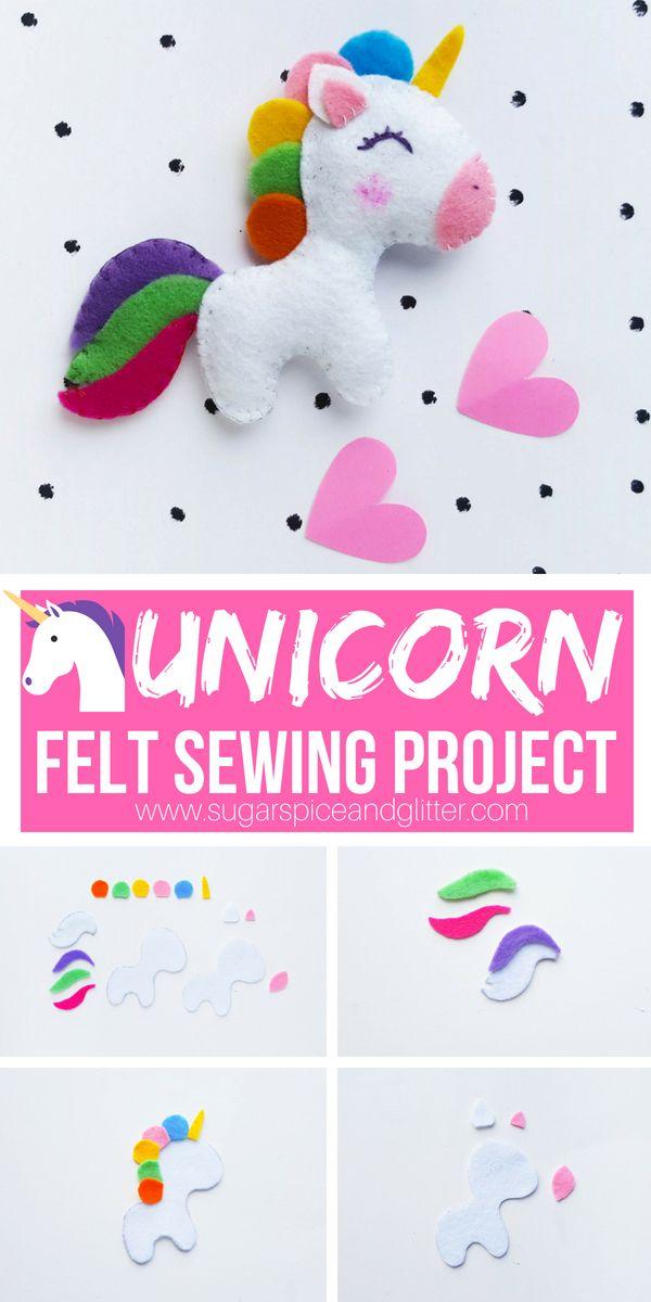 Felt Unicorn Sewing Project Recipe Kids Craft Ideas Pinterest