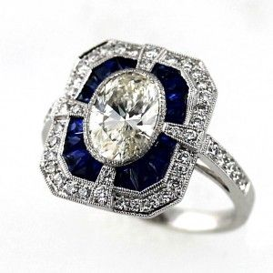 "No ""cookie-cutter"" here!  Art Deco Style Diamond & Sapphire Ring https://www.etsy.com/shop/SacredbyBrandy"