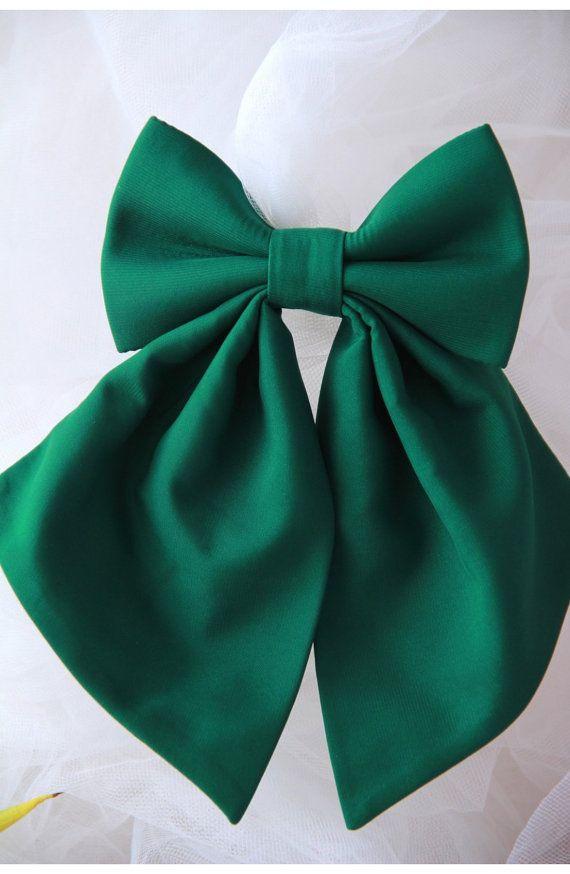 Green Women's Bow Tie Genuine New Brooch 100% by VaniaSzaszBows