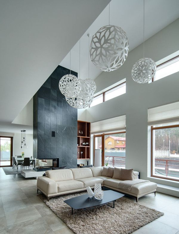Spacious Home With A Warm Interior In Kiev Home Lighting Designmodern