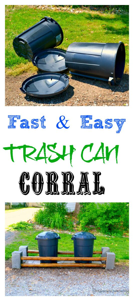 Need a easy way to keep trash cans from falling over. Trash Can Corral DIY