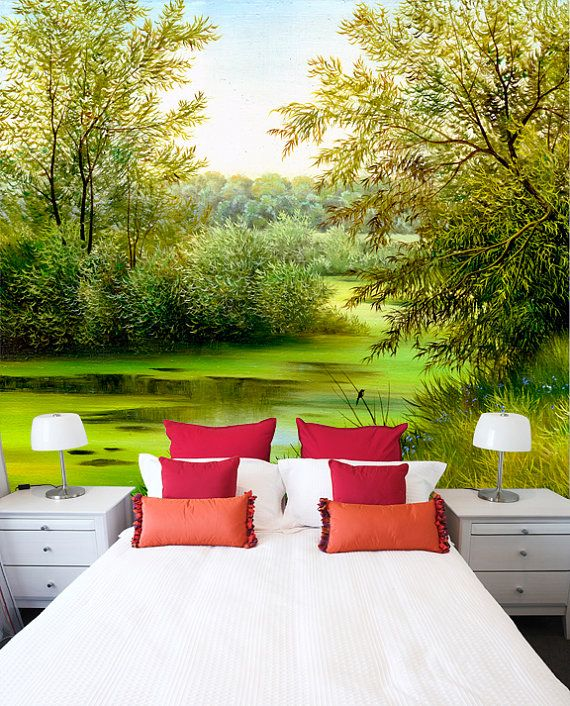 Summer landscape painted mural repositionable peel & stick wall decal by StyleAwall