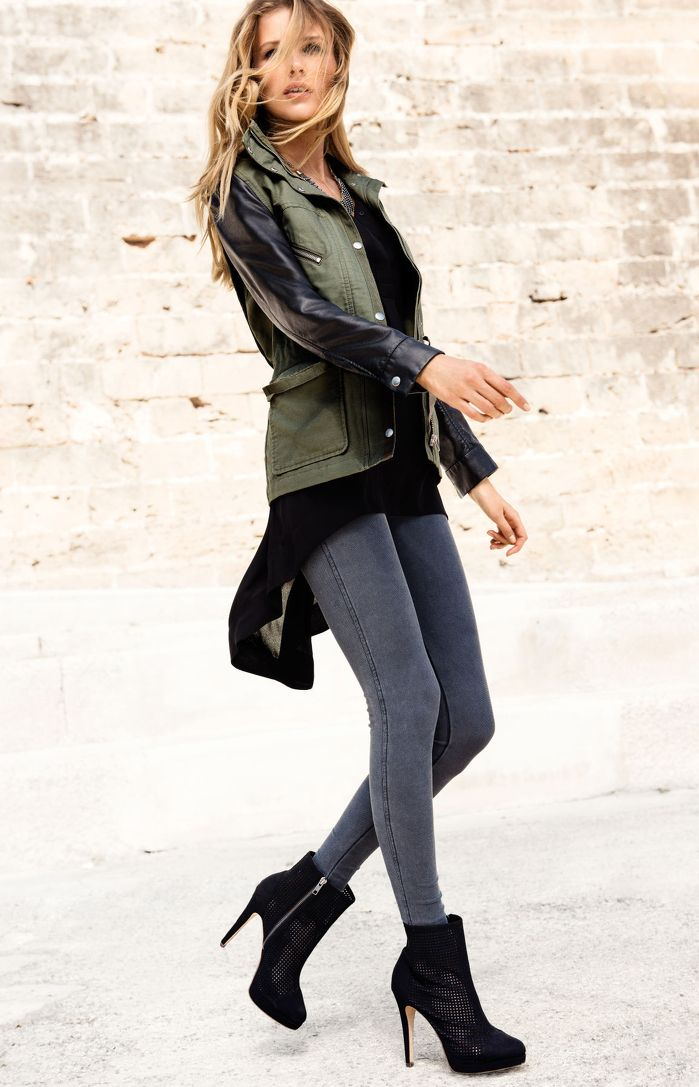 OUTFIT: khaki jacket with leather sleeves, black top, grey skinny jeans, black heeled boots