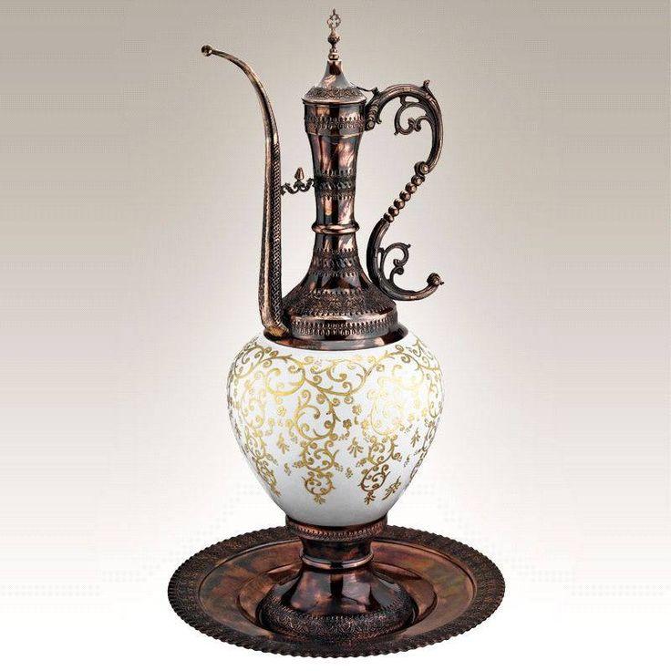 Kütahya Porselen El Yapımı İbrik Sürahi Antika Gümüş