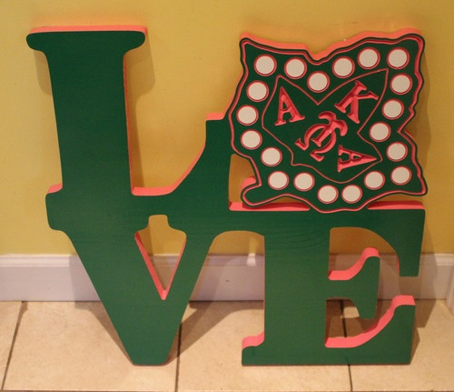 Alpha Kappa Alpha carved wood plaque