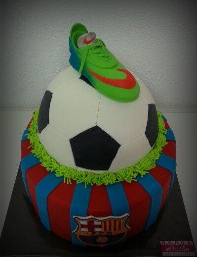 FC Barcelona cake with fondant shoe