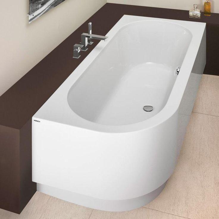 Hoesch HAPPY D Eck Badewanne rechts, mit angeformter Schürze weiß