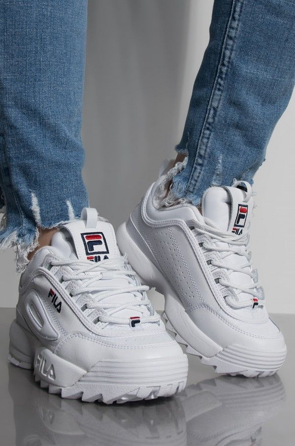 Side View Fila Womens Disruptor Ii Premium Sneaker in White