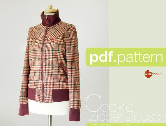 PDF sewing pattern. Women Zipper Blouson Cookie von WafflePatterns