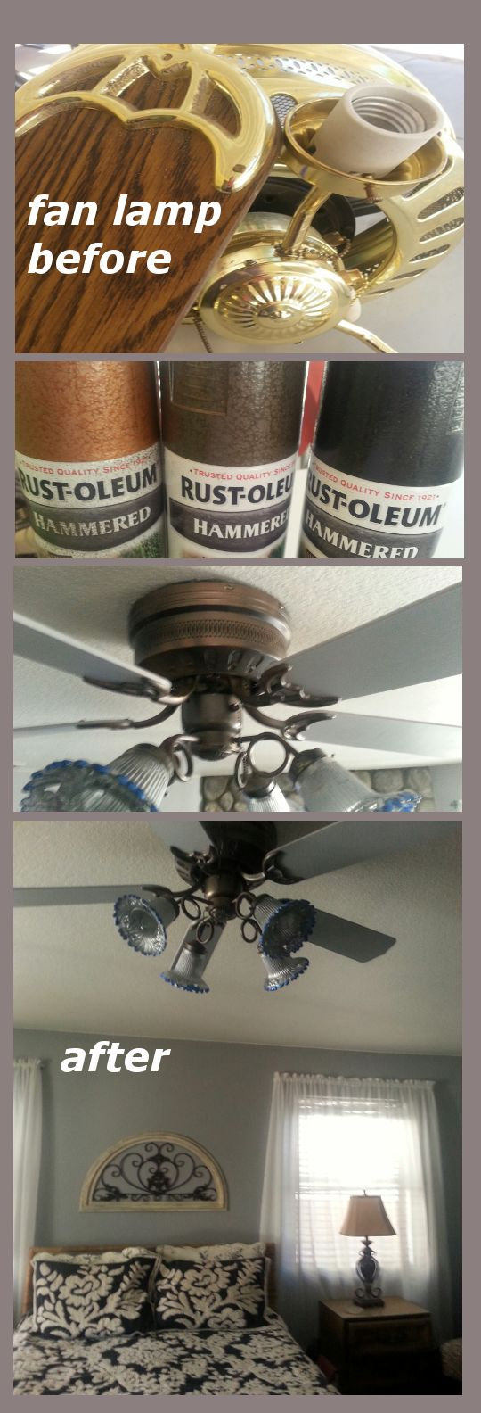 no money for new fan lamp but I had hammered spray paint from another project (shower rod and rings) which I wish I did a before & after pic. I painted fan blades gray same as my wall. Using hammered paint i just tried using each color to get the effect I was looking for. Happy with the results!