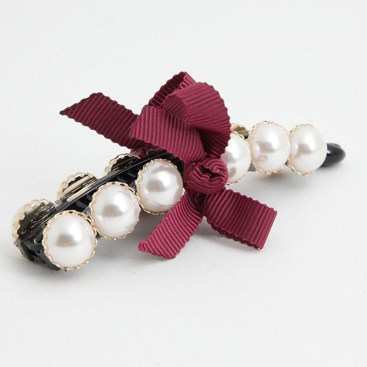 Gleaming Faux Pearl Button Twin Banana Hair Clip   #Handmade