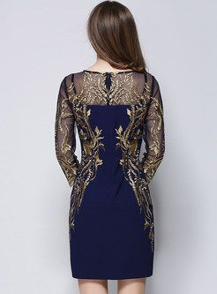 Shop for high quality Long Sleeve Embroidery Mesh Patch Slim Dress online at cheap prices and discover fashion at Ezpopsy.com