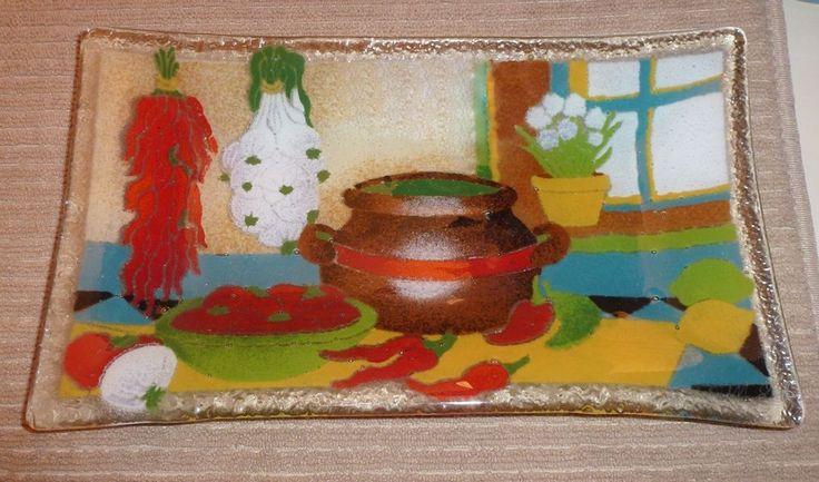 Peggy Karr Southwestern Kitchen Chili Pepper Art Glass Serving Tray Plate Dish