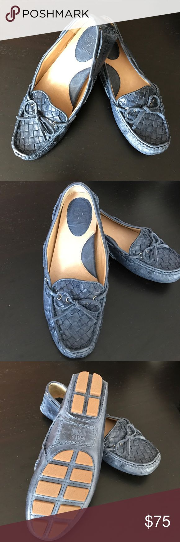 Frye Raegan Driving Shoe Woven leather driving shoes, only worn twice, extremely comfortable Frye Shoes Flats & Loafers