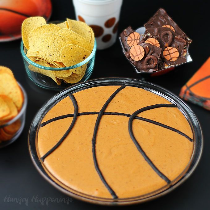 Hoops with Crunch party snacks. Cheer on your favorite college team during the basketball tournament while munching on Basketball Bean Dip served with Pringles Tortillas and Chocolate Basketball Bark made with Pringles Original. #HoopsWithCrunch #CollectiveBias #ad