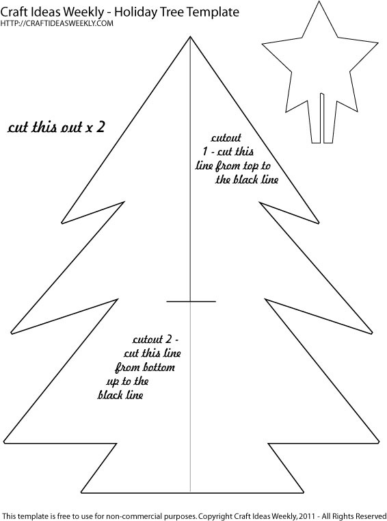 Free printable template - make a big (around 10 inches) paper tree for Holiday decorating.