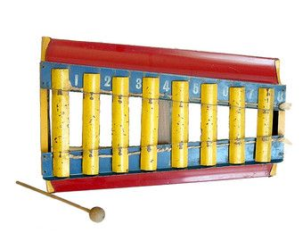 Vintage Tin Toy Xylophone Southwestern Decal Kids Room Wall Decor