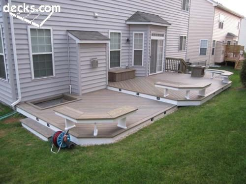 Best 25 two level deck ideas on pinterest tiered deck for Low elevation deck plans